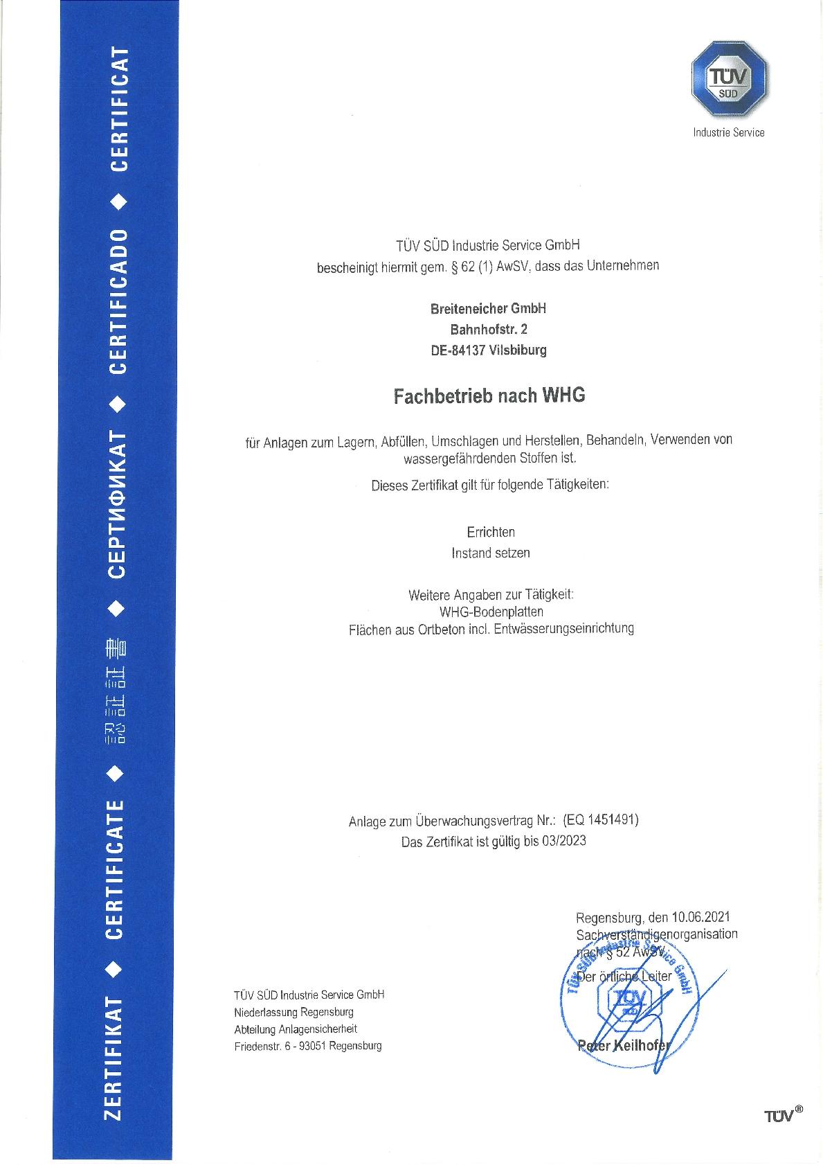 Fachbetrieb nach WHG, Breiteneicher GmbH, Vilsbiburg