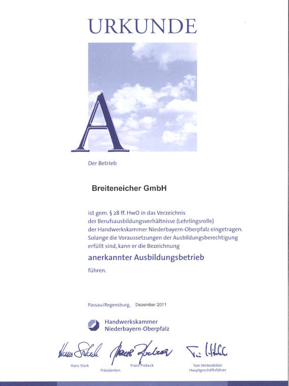 Urkunde Handwerkskammer, Breiteneicher GmbH, Vilsbiburg