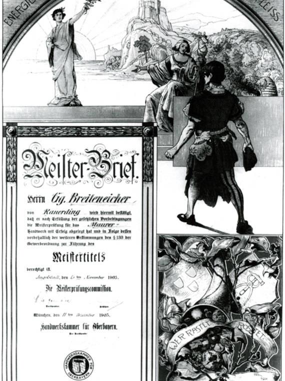 Meisterbrief von Georg Breiteneicher